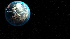 Fictional spaceplane leaves the Earth. Concept of spaceship for space tourism. 3d animation. Texture of Earth was