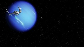 Spaceplane return from Neptune. Fictional spaceplane returns from travel to Neptune. Concept of spaceship for space tourism. 3d animation. Texture of the Planet stock video footage