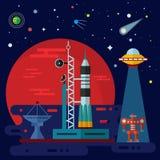 Spaceport, raket, ufo en robot Royalty-vrije Stock Afbeeldingen