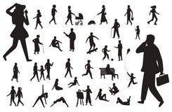 Spacer sylwetki ludzie Czerni postacie szczęśliwej dziecko kobiety młodej damy pracujący mężczyzna, chodzący osoba wektor odizolo ilustracja wektor
