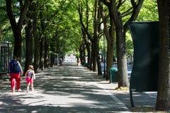 Spacer w parku między drzewami -3 Obrazy Royalty Free