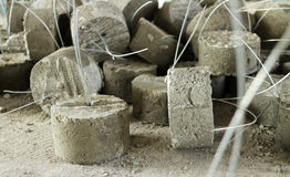 Spacers for Concrete Reinforced Steel Works Stock Images