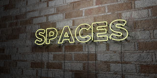 SPACES - Glowing Neon Sign on stonework wall - 3D rendered royalty free stock illustration Royalty Free Stock Photography