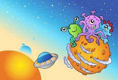Spacescape with three cute aliens Royalty Free Stock Images