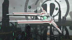 Spacescene virtuale con architettura e l'astronave rappresentazione 3d Immagini Stock