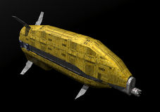 Spaceship. A spaceship isolated on black in 3D Stock Photography