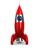 Spaceship. 3d illustration of cartoon rocket over white background Stock Photography