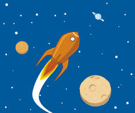 Spaceship. Vector illustration Spaceship flying in space Royalty Free Stock Image