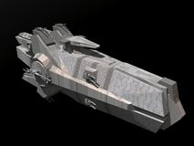 Spaceship. A spaceship isolated on a black background in 3d Royalty Free Stock Image