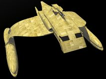 Spaceship. A spaceship isolated on a black background in 3d Royalty Free Stock Photography