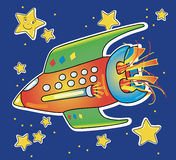 Spaceship. Funny illustration showing a spaceship colored while traveling in space sidereal Royalty Free Stock Photos