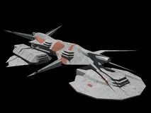 Spaceship. A spaceship isolated on black in 3d Stock Photo