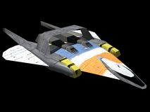 Spaceship. A spaceship isolated on black in 3d Royalty Free Stock Photos