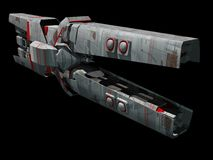 Spaceship. A spaceship in 3d isolated on black background Royalty Free Stock Image