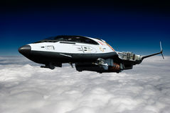 Spaceship above the clouds backside view Royalty Free Stock Photography