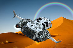 Spaceship above the clouds backside view. The spaceship above the clouds backside view stock illustration