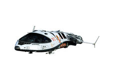 Spaceship above the clouds backside view. The spaceship above the clouds backside view royalty free illustration