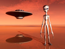 Spaceship and Alien in a Distant World Stock Photo