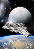 Spaceship and alien moon. 3D render science fiction illustration Stock Photos