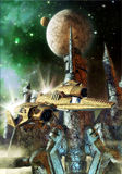 Spaceship and alien planet. A space fighter with a alien city in backgroud in 3D Stock Image