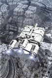 Spaceship and alien planet surface. 3D render science fiction illustration Stock Photo