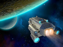 Spaceship approaching a planet Stock Images