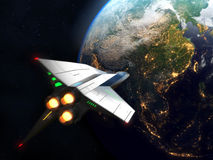 Spaceship arrives to Earth. Elements of this image furnished by NASA. vector illustration