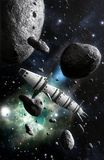 Spaceship and asteroid field. 3D render science fiction illustration Stock Photos