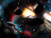 Spaceship and asteroids Stock Photo