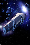 Spaceship and asteroids Royalty Free Stock Photography