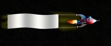 Spaceship with banner. A red and blue space ship pulls a banner through space with a star field backdrop. Add your own copy stock images
