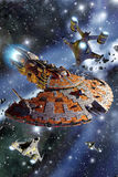 Spaceship battle cruiser assault Stock Photo