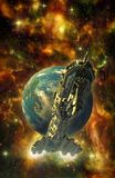 Spaceship battleship and planet. 3D render science fiction illustration Stock Image
