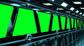 Spaceship black corridor 3D rendering Royalty Free Stock Photography