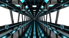 Spaceship black corridor 3D rendering Stock Images