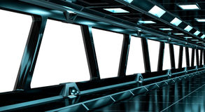 Spaceship black corridor 3D rendering Royalty Free Stock Photos
