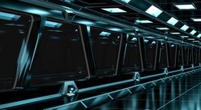 Spaceship black corridor 3D rendering Stock Photography