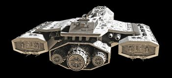 Spaceship on black - rear view Stock Photo