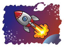 Spaceship blasting off into the space. Cartoon style spaceship or rocket flying in the space among planets and stars, vector illustration Stock Photos