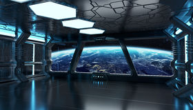 Spaceship blue interior 3D rendering elements of this image furn Stock Image