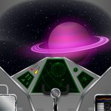 Spaceship cabin. Vector spacecraft interior with the Saturn view royalty free illustration