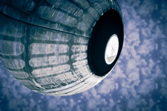 Spaceship capsule over clouds Stock Image