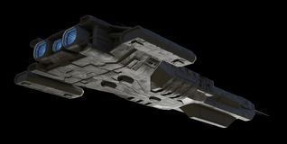 Free Spaceship Carrier Isolated On Black - View From Below Stock Image - 161893941