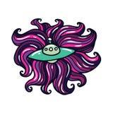 Spaceship Cartoon Doodle Illustration Royalty Free Stock Photography
