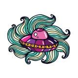 Spaceship Cartoon Doodle Illustration Stock Photography