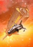 Spaceship chase battle royalty free illustration