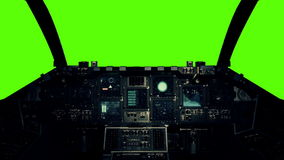Spaceship Cockpit in a Pilot Point of view on a Green Screen Background. Spacecraft Cockpit in a Pilot Point of view on a Green Screen Background