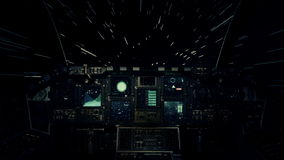 Spaceship Cockpit in a Pilot Point of view Traveling in Light Speed in Space stock video footage
