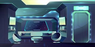 Spaceship comfortable crew cabin interior vector. Future spaceship crew cabin futuristic interior cartoon vector illustration. Fiction live space station stock illustration