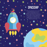 Spaceship Conceptual Vector Web Banner. Spaceship cartoon banner. Rocket flying in starry outer space near planet Earth vector illustration on blue background Royalty Free Stock Photo